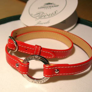Longchamp Orange Red Leather and Silver charm neck